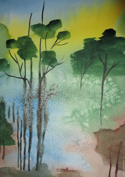 Пейзаж ручной работы. Ярмарка Мастеров - ручная работа. Купить Акварель Сказочный лес. Handmade. Комбинированный, акварельная картина