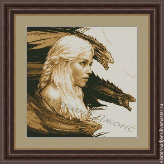 Мать драконов. Платная авторская схема для вышивки крестом. Скрин схемы. Сделаю схему на заказ по вашей фотографии или картинке.