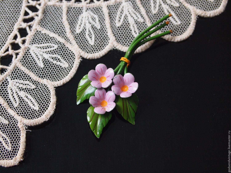 Delicate pink bouquet, vintage brooch, enamel, Vintage brooches, St. Petersburg,  Фото №1