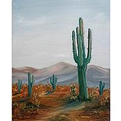 Картины и панно handmade. Livemaster - original item Oil painting Landscape with Cacti. Handmade.