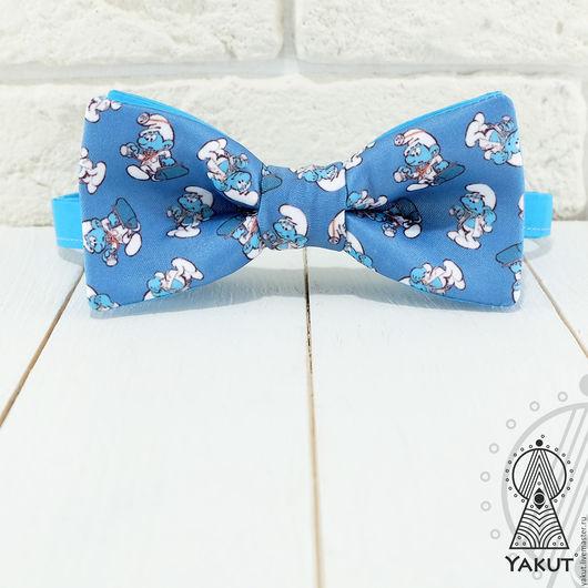 Галстуки, бабочки ручной работы. Ярмарка Мастеров - ручная работа. Купить Галстук бабочка Смурфики / бабочка-галстук голубая мультяшная. Handmade.