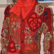 Одежда ручной работы. Ярмарка Мастеров - ручная работа Кофта женская вязаная  Изысканность в красном. Handmade.