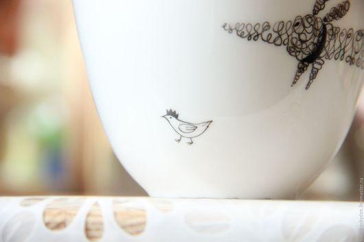 """Сервизы, чайные пары ручной работы. Ярмарка Мастеров - ручная работа. Купить чайная пара """"такса с птичкой"""". Handmade."""