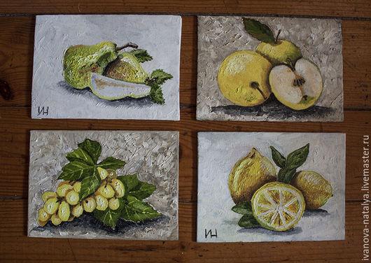 Натюрморт ручной работы. Ярмарка Мастеров - ручная работа. Купить полиптих фрукты. Handmade. Желтый, натюрморт с фруктами, груша