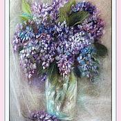Картины и панно ручной работы. Ярмарка Мастеров - ручная работа Сирень в хрустальной вазе Картина из шерсти. Handmade.