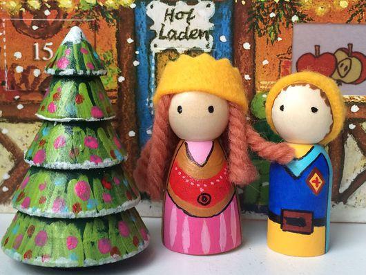 Вальдорфская игрушка ручной работы. Ярмарка Мастеров - ручная работа. Купить Куколки король и королева новогодние (маленькие). Handmade. Разноцветный
