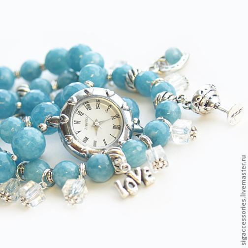 """Часы ручной работы. Ярмарка Мастеров - ручная работа. Купить """"На пляже"""" (агат) - часы-браслет. Handmade. Голубой"""