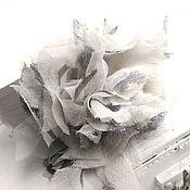 Украшения handmade. Livemaster - original item Brooch hairpin made of fabric. Grey fancy flower design. Handmade.