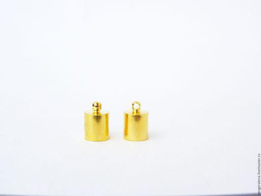 Для украшений ручной работы. Ярмарка Мастеров - ручная работа. Купить Колпачки М1 для жгутов, концевики 8 мм золото. Handmade.