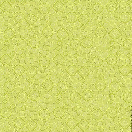 """Шитье ручной работы. Ярмарка Мастеров - ручная работа. Купить Ткань хлопок американский  """"Воскресная прогулка -зеленая с кругами"""". Handmade."""