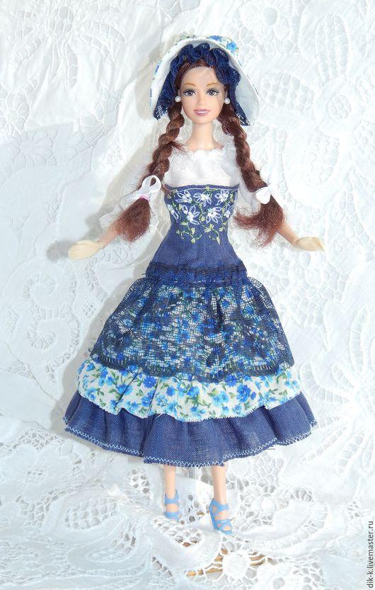 """Одежда для кукол ручной работы. Ярмарка Мастеров - ручная работа. Купить Комплект для Барби """"Барышня-крестьянка"""". Handmade. Синий, шляпка"""