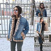 Одежда handmade. Livemaster - original item Denim jacket with lynx fur. Handmade.
