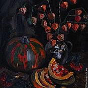 Картины и панно ручной работы. Ярмарка Мастеров - ручная работа Натюрморт с тыквой и физалисом.. Handmade.