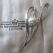 Винтажная серебряная брошь Ciro, жемчуг, фианиты, Англия, 1970-е