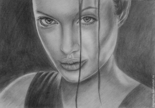 Люди, ручной работы. Ярмарка Мастеров - ручная работа. Купить Портрет Анджелины Джоли. Handmade. Черный, портрет, портрет в подарок