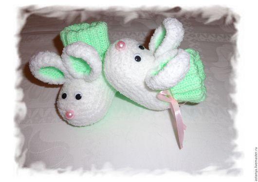 Для новорожденных, ручной работы. Ярмарка Мастеров - ручная работа. Купить Пинетки-мышки для самой лучшей малышки из плюшевой пряжи. Handmade.