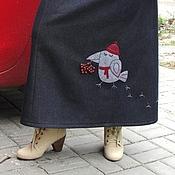 Одежда ручной работы. Ярмарка Мастеров - ручная работа Теплая, длинная джинсовая юбка. Handmade.