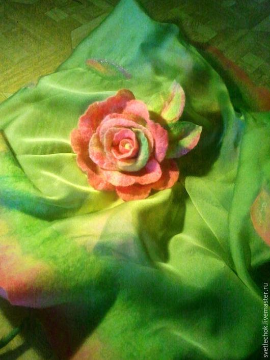 """Броши ручной работы. Ярмарка Мастеров - ручная работа. Купить Брошь """"Queen of Spring"""". Handmade. Розовый, нунофелтинг"""