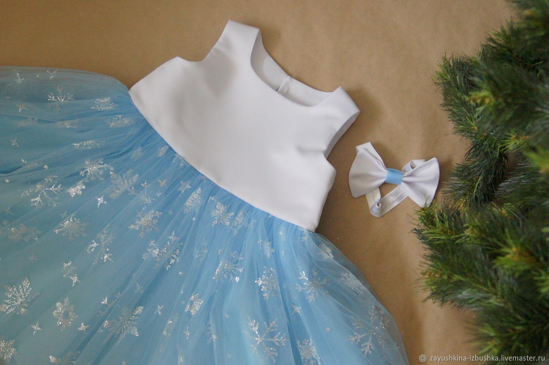 Платье для девочки Снежинки нарядное платье для девочки