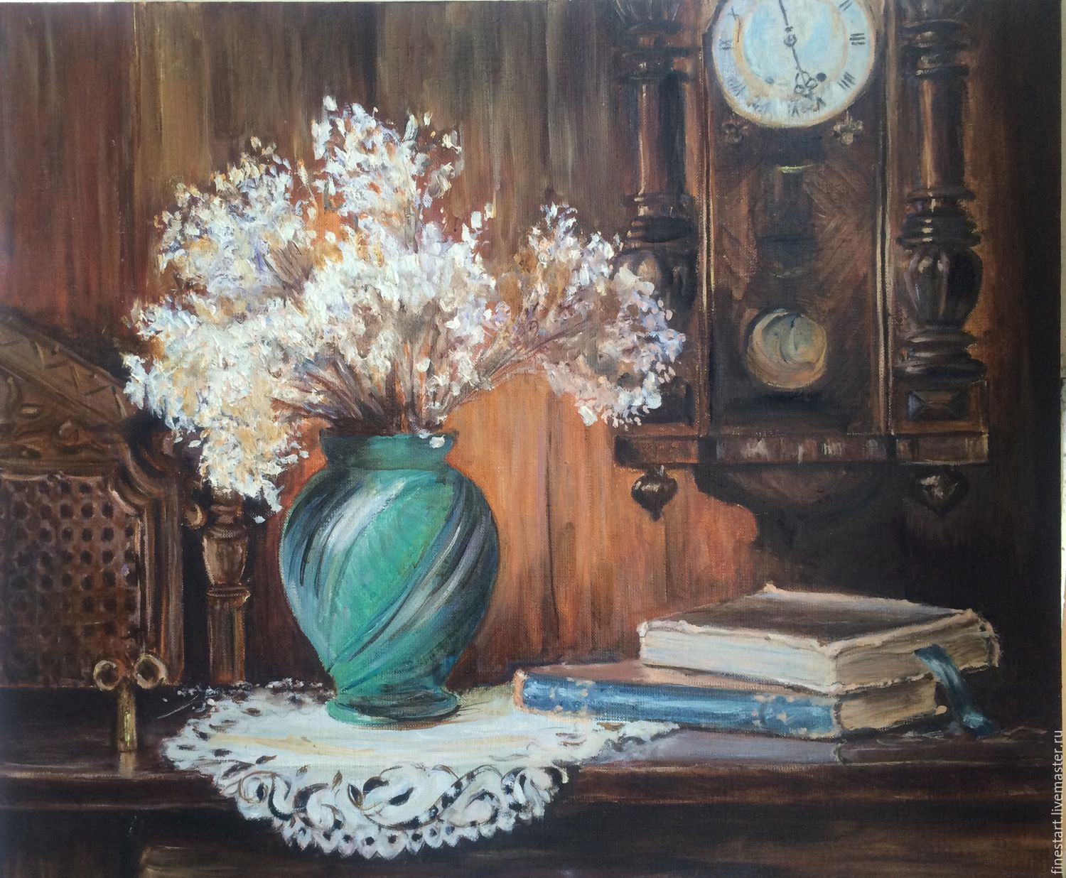 Oil painting still life Antique clock – shop online on ...