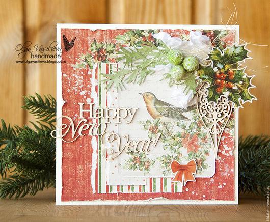 Открытки к Новому году ручной работы. Ярмарка Мастеров - ручная работа. Купить Новогодняя открытка. Handmade. Разноцветный, новый год 2016