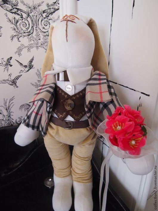 Куклы Тильды ручной работы. Ярмарка Мастеров - ручная работа. Купить Тильда Заяц  Английский жених. Handmade. Белый