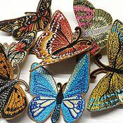 """Аксессуары для вышивки ручной работы. Ярмарка Мастеров - ручная работа Нашивки на одежду - комплект """"Бабочки"""" 7 шт. Handmade."""