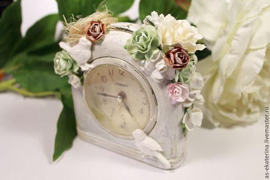 """Часы для дома ручной работы. Ярмарка Мастеров - ручная работа. Купить Часы-будильник """"Утреннее пение птиц"""". Handmade. Мятный"""