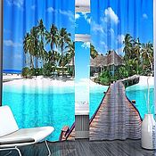 """Дизайн и реклама ручной работы. Ярмарка Мастеров - ручная работа Комплект штор """"Райский остров"""" с фотопечатью. Handmade."""