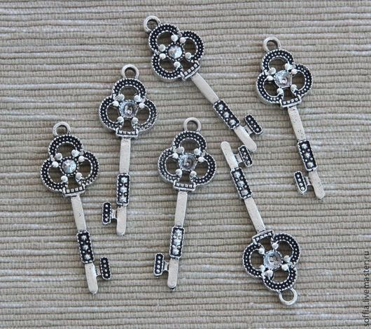 Для украшений ручной работы. Ярмарка Мастеров - ручная работа. Купить Декоративный элемент-ключик (3 шт/уп) 261033. Handmade.