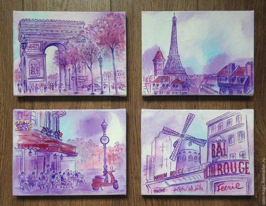 Город ручной работы. Ярмарка Мастеров - ручная работа. Купить Картина фиолетовый городской пейзаж Париж. Handmade. Фиолетовый