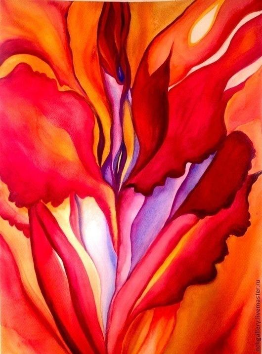 """Абстракция ручной работы. Ярмарка Мастеров - ручная работа. Купить """"Красная"""".Картина. Продано.. Handmade. Ярко-красный, коралловый, голубой"""