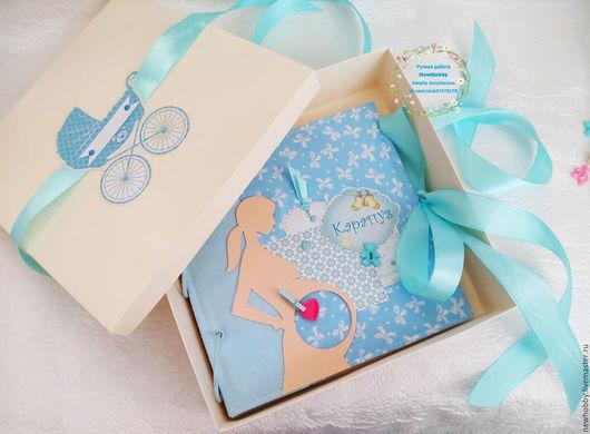 Подарки для новорожденных, ручной работы. Ярмарка Мастеров - ручная работа. Купить Альбом для малыша. Handmade. Голубой, рождение ребенка, ребенку