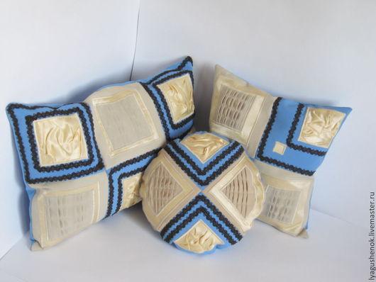 """Текстиль, ковры ручной работы. Ярмарка Мастеров - ручная работа. Купить Набор подушек """"утро"""". Handmade. Голубой, подарок"""