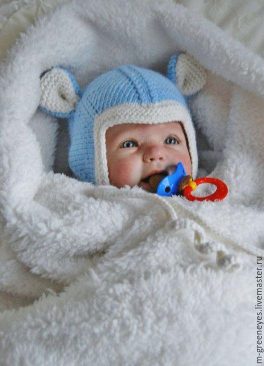 """Для новорожденных, ручной работы. Ярмарка Мастеров - ручная работа. Купить Шапочка для мальчика """"Мышонок"""". Handmade. Шапка голубого цвета"""