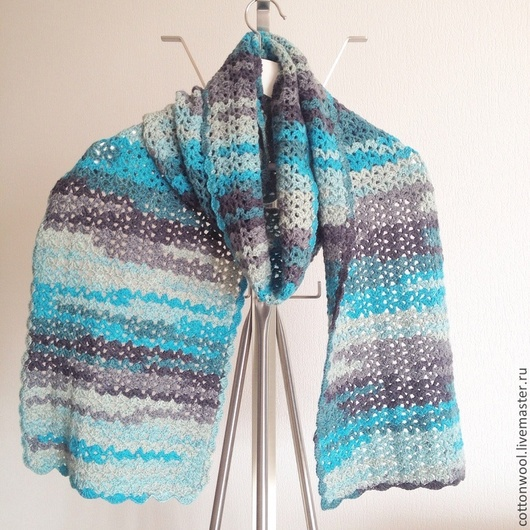 """Шали, палантины ручной работы. Ярмарка Мастеров - ручная работа. Купить Ажурный шарф """"Грозовое небо"""". Handmade. Разноцветный"""