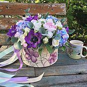 Цветы и флористика ручной работы. Ярмарка Мастеров - ручная работа Цветы в шляпной коробке 38 см (полимерная глина). Handmade.