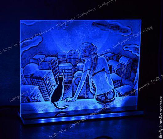Город ручной работы. Ярмарка Мастеров - ручная работа. Купить Вечер на крыше Картина с подсветкой. Handmade. Синий, романтичный подарок