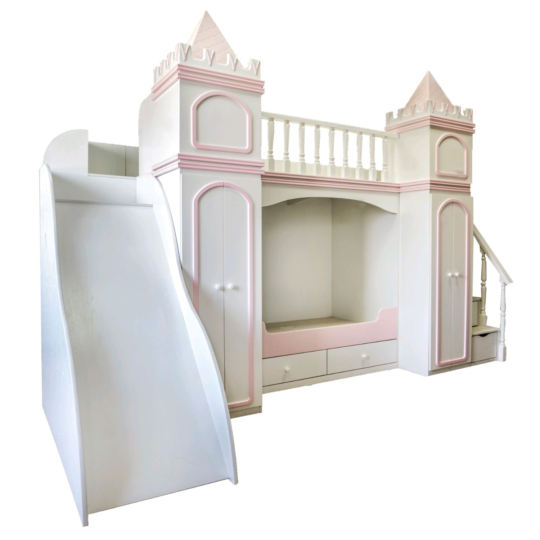 Двухъярусная кровать с лестницей-комодом, шкафами и горкой, Мебель для детской, Новокузнецк,  Фото №1