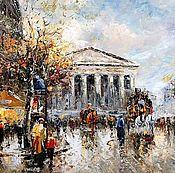 "Пейзаж Парижа Антуана Бланшара ""Rue Royal Madeleine"" (копия Кристины В"