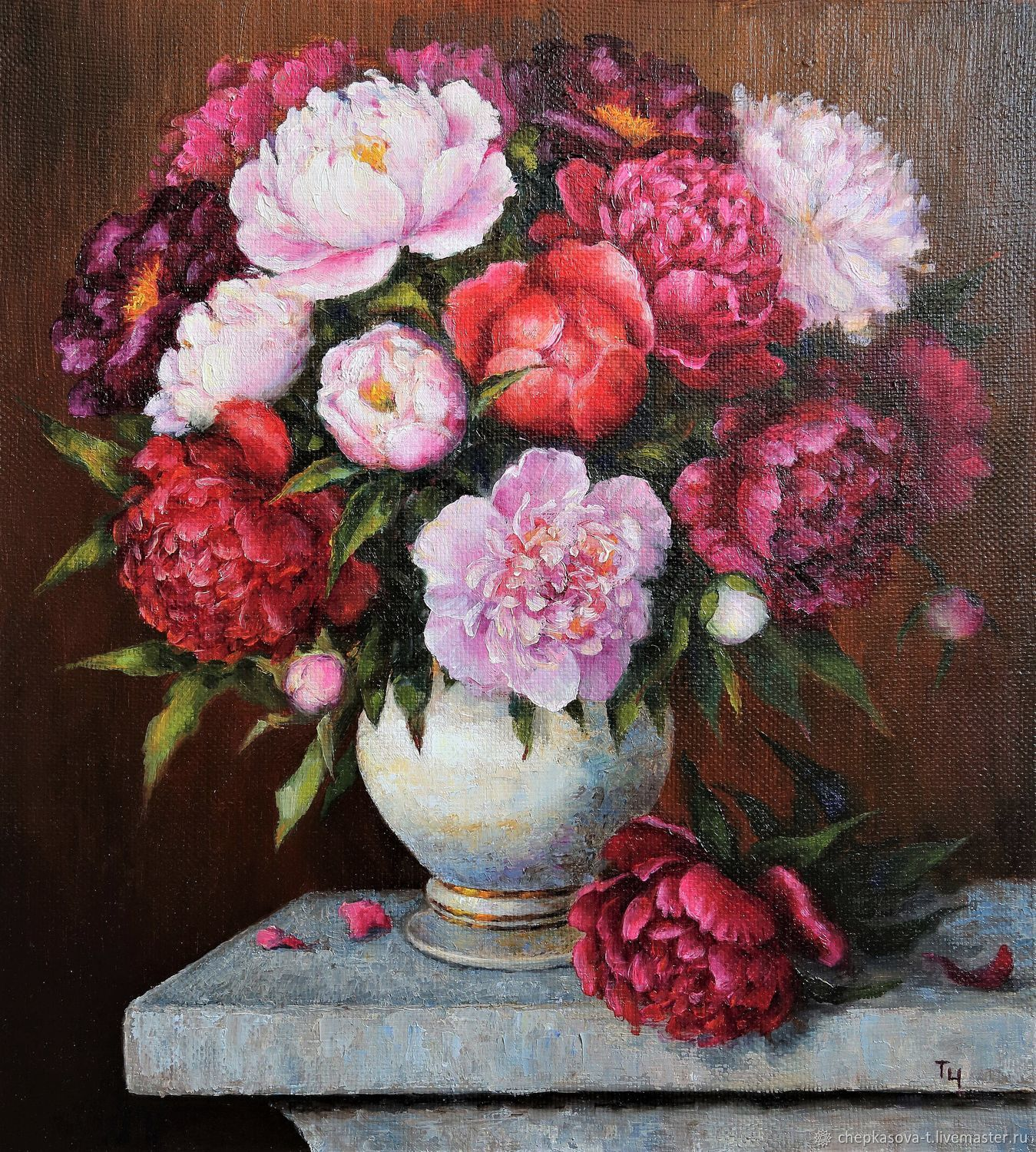 Peonies. Oil painting. 50h45 cm, Pictures, Moscow,  Фото №1