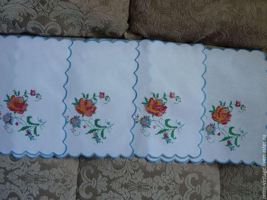 Винтажные предметы интерьера. Ярмарка Мастеров - ручная работа. Купить Салфетка Роза вышитая - 4шт.. Handmade. Разноцветный, бутоньерка, винтаж
