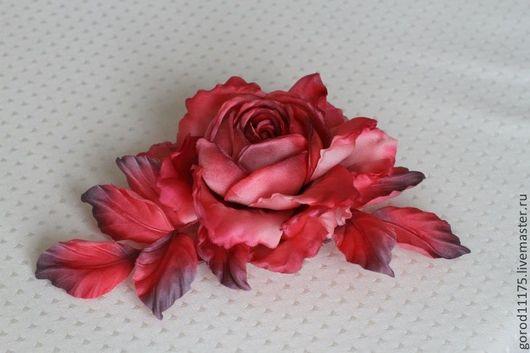 Цветы ручной работы. Ярмарка Мастеров - ручная работа. Купить Роза из натурального шелка. Handmade. Ярко-красный, украшение из шелка