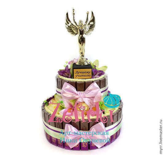 Кулинарные сувениры ручной работы. Ярмарка Мастеров - ручная работа. Купить Подарок учителю торт из конфет подарки учителям на выпускной. Handmade.