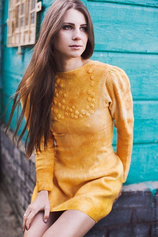 """Платья ручной работы. Ярмарка Мастеров - ручная работа. Купить Валяное платье с рукавом """"Golden Mustаrd"""". Handmade. Желтый, лимонный"""