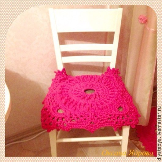 Текстиль, ковры ручной работы. Ярмарка Мастеров - ручная работа. Купить Комплект сидушек для стульев. Handmade. Фуксия, сидушка на стул