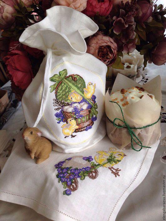 Подарки на Пасху ручной работы. Ярмарка Мастеров - ручная работа. Купить Мешок для кулича + салфетка пасхальная-Весенние цыплята( крестик). Handmade.