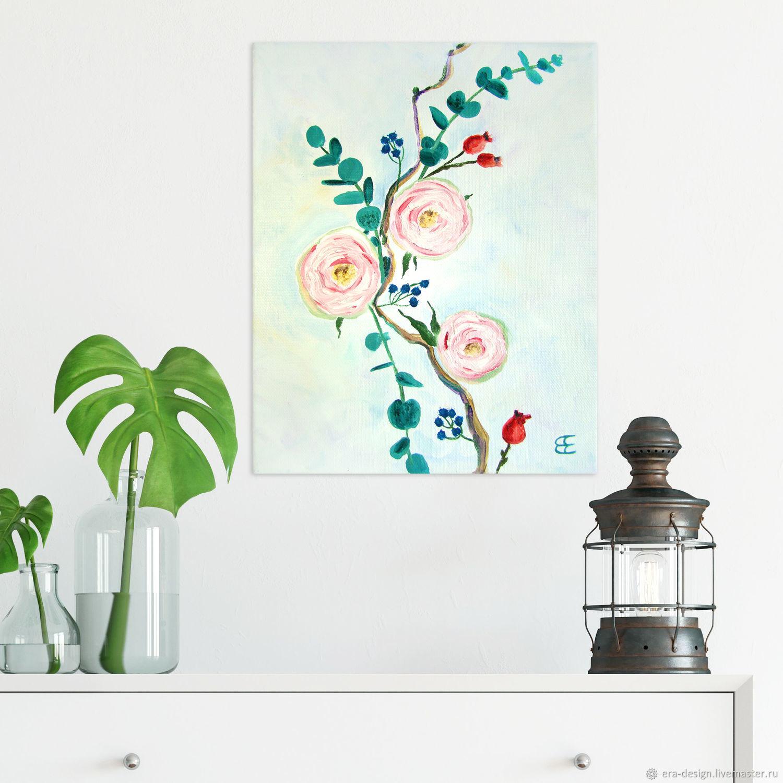 Картина розы «Робкие розы» маслом 30х24см, Картины, Москва, Фото №1