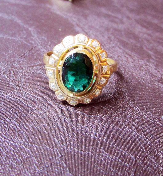 Кольца ручной работы. Ярмарка Мастеров - ручная работа. Купить Серебряное кольцо 925 пробы в позолоте 14K Хризолит. Handmade.
