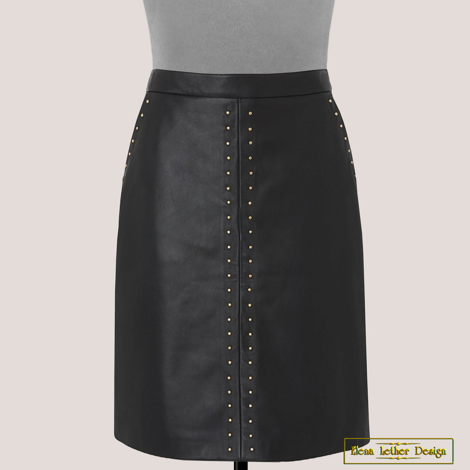 Straight skirt 'Rivets and pockets' of genuine leather, Skirts, Rodniki,  Фото №1